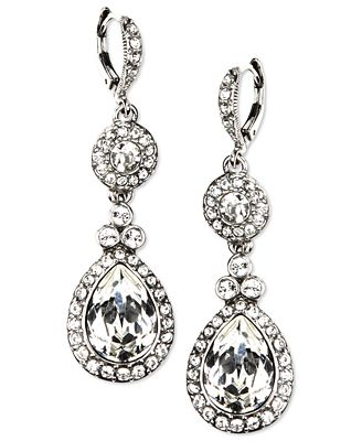 Givenchy Earrings Silver Tone Swarovski Element Double Drop