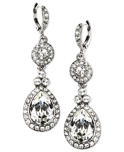 Givenchy Silver-Tone Swarovski Element Double Drop Earrings ... 19c98680a7