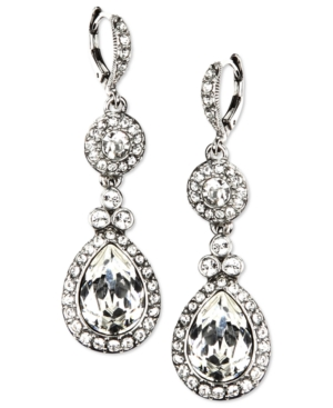 Givenchy-Silver-Tone-Swarovski-Element-Double-Drop-Earrings