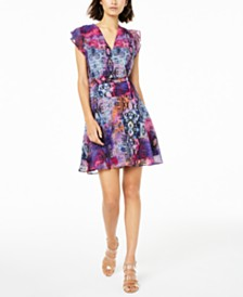 Bar III Snake-Print Surplice Dress, Created for Macy's