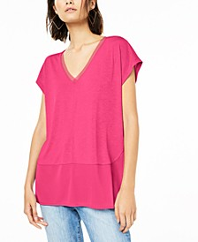 V-Neck Mixed-Media Mesh Top, Created for Macy's