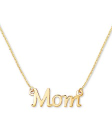 "Mom 18"" Pendant Necklace in 10k Gold"