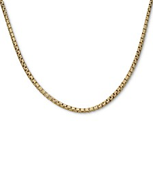 "Box Link 24"" Chain Necklace in 18k Gold-Plated Sterling Silver"