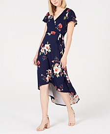 Juniors' Floral High-Low Wrap Dress