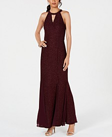 Glitter-Knit Teardrop Gown, Regular & Petite Sizes