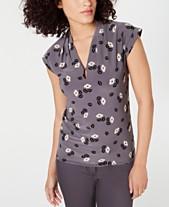 6685ab26cf Anne Klein Cap-Sleeve Printed V-Neck Top