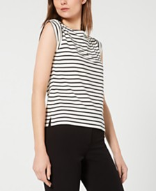 Anne Klein Striped Boat-Neck Cap-Sleeve Top