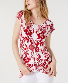 I.N.C. Printed Twist-Hem Top, Created for Macy's