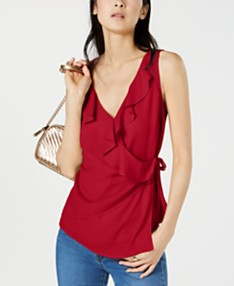 d02aef7fd383 I.N.C. Solid Ruffle Surplice Tank Top, Created for Macy's