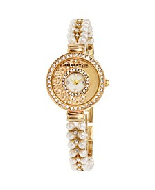 Collection Women's Gold Analog Quartz Watch with Mother of Pearl Dial and Stone Accent Strap