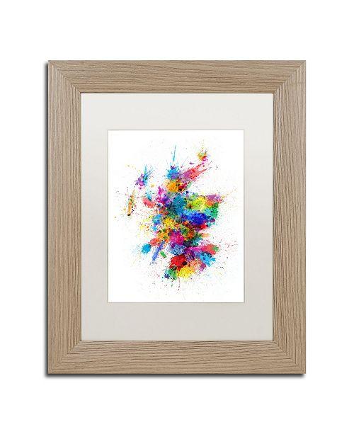 """Trademark Global Michael Tompsett 'Scotland Paint Splashes Map' Matted Framed Art - 11"""" x 14"""""""