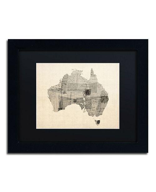 """Trademark Global Michael Tompsett 'Old Postcard Map of Australia' Matted Framed Art - 11"""" x 14"""""""