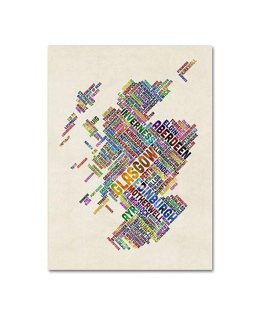 "Trademark Global Michael Tompsett 'Scotland Typography Text Map 4' Canvas Art - 14"" x 19"""