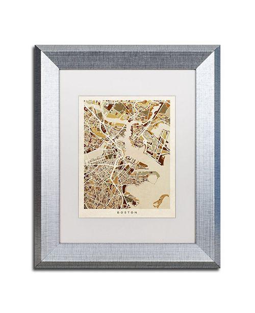 "Trademark Global Michael Tompsett 'Boston MA Street Map Brown' Matted Framed Art - 11"" x 14"""