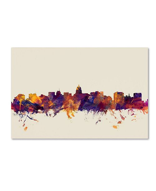 "Trademark Global Michael Tompsett 'Madison Wisconsin Skyline' Canvas Art - 12"" x 19"""