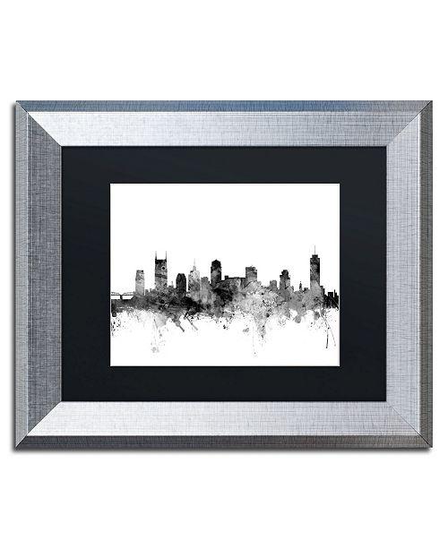 """Trademark Global Michael Tompsett 'Nashville TN Skyline B&W' Matted Framed Art - 11"""" x 14"""""""