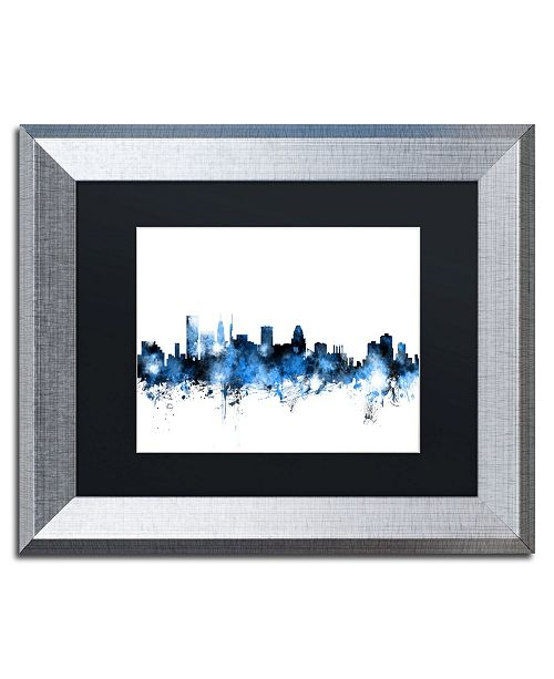 "Trademark Global Michael Tompsett 'Baltimore MD Skyline White' Matted Framed Art - 11"" x 14"""