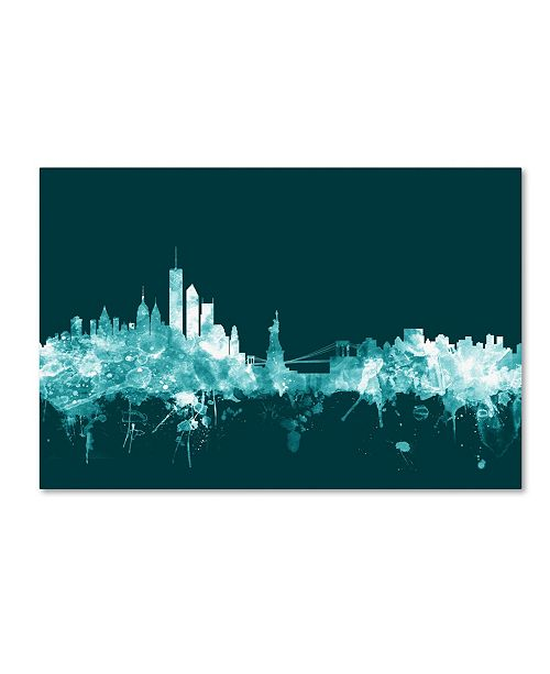 "Trademark Global Michael Tompsett 'New York Skyline Teal' Canvas Art - 12"" x 19"""