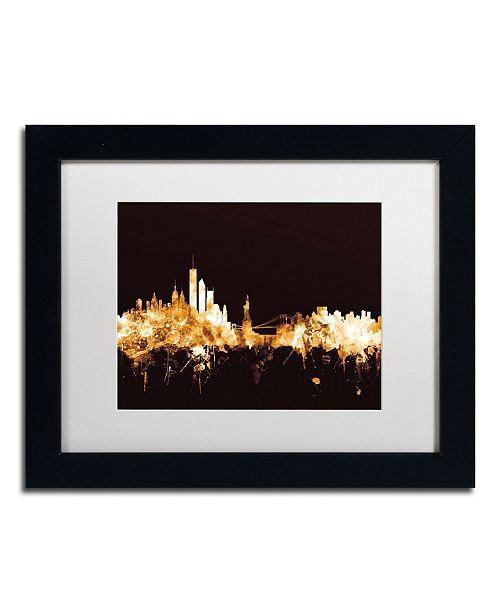 """Trademark Global Michael Tompsett 'New York Skyline Gold' Matted Framed Art - 11"""" x 14"""""""