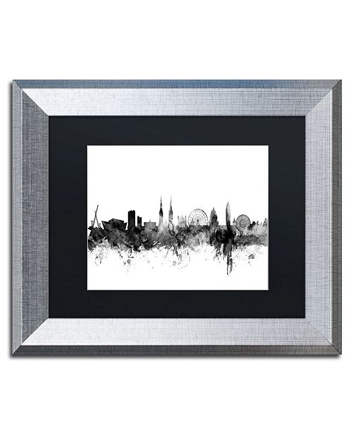 "Trademark Global Michael Tompsett 'Belfast N. Ireland Skyline B&W' Matted Framed Art - 11"" x 14"""