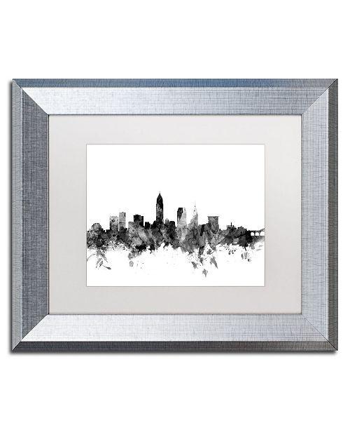 """Trademark Global Michael Tompsett 'Cleveland Ohio Skyline B&W' Matted Framed Art - 11"""" x 14"""""""