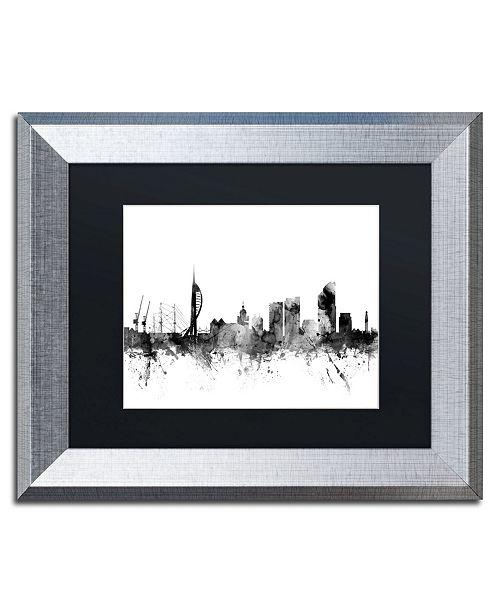 """Trademark Global Michael Tompsett 'Portsmouth England Skyline B&W' Matted Framed Art - 11"""" x 14"""""""