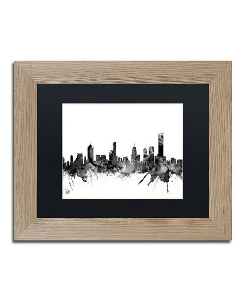 "Trademark Global Michael Tompsett 'Melbourne Skyline B&W' Matted Framed Art - 11"" x 14"""