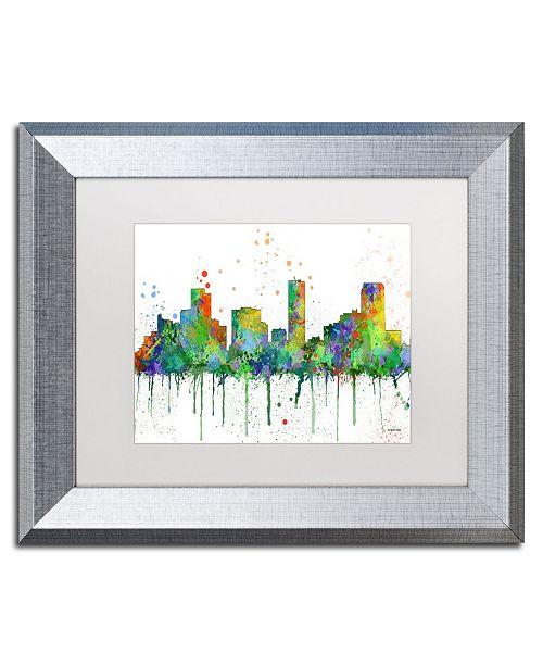 "Trademark Global Marlene Watson 'Denver Colorado Skyline Mclr-1' Matted Framed Art - 11"" x 14"""