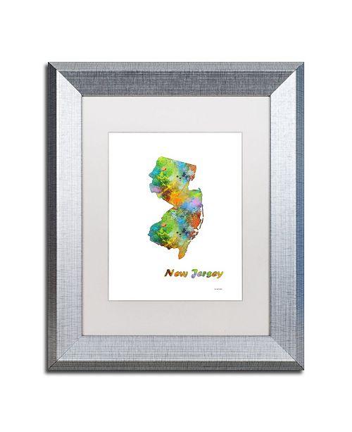 "Trademark Global Marlene Watson 'New Jersey State Map-1' Matted Framed Art - 11"" x 14"""