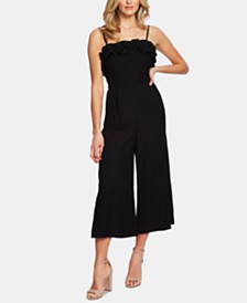 CeCe Ruffle-Neck Cropped Jumpsuit