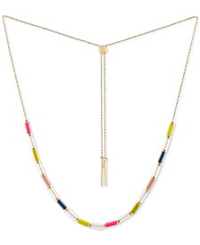 "RACHEL Rachel Roy Gold-Tone Crystal Bead 13"" Slider Necklace"