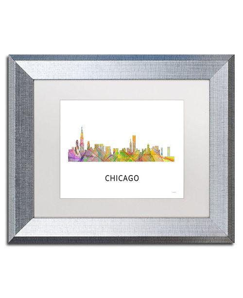 "Trademark Global Marlene Watson 'Chicago Illinois Skyline WB-1' Matted Framed Art - 11"" x 14"""