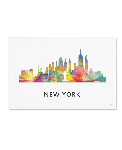 "Trademark Global Marlene Watson 'New York New York Skyline WB-1' Canvas Art - 12"" x 19"""