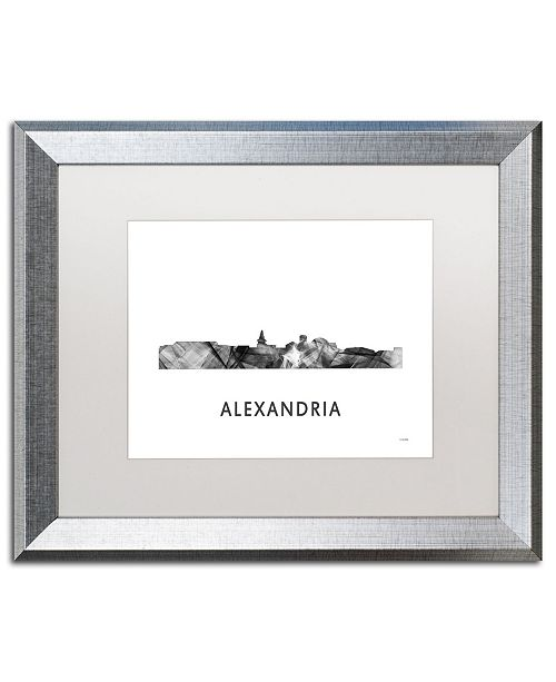"Trademark Global Marlene Watson 'Alexandria Virginia Skyline WB-BW' Matted Framed Art - 16"" x 20"""