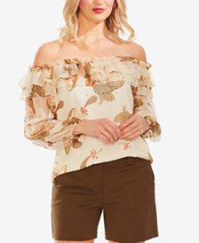 Vince Camuto Paisley Spice Ruffled Off-The-Shoulder Top
