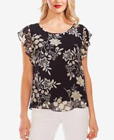 Vince Camuto Floral-Printed Flutter-Sleeve Top