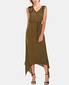 Vince Camuto Drawstring-Shoulder Handkerchief-Hem Maxi Dress