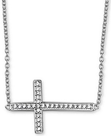 "Cubic Zirconia Cross 18"" Necklace in Sterling Silver, Created for Macy's"