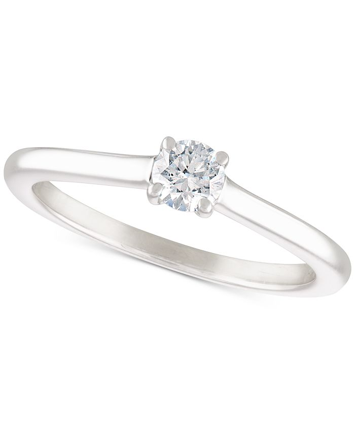 Macy's - Certified Diamond Solitaire Engagement Ring (1/4 ct. t.w.) in 14k White Gold (Also available in Yellow Gold)