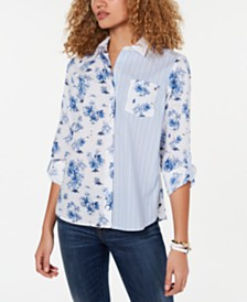 Tommy Hilfiger Double-Print Cotton Shirt, Created for Macy's