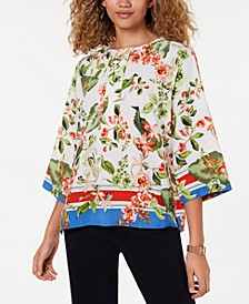 Printed Button-Neck 3/4-Sleeve Top, Created for Macy's