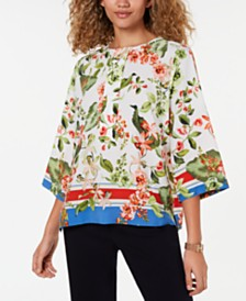 Tommy Hilfiger Printed Button-Neck 3/4-Sleeve Top, Created for Macy's