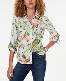 Tommy Hilfiger Cotton Printed Button-Down Shirt, Created for Macy's