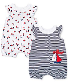 Little Me Baby Girls 2-Pk. Ruffled Sailboat Cotton Rompers
