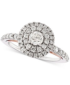 Diamond Double Halo Engagement Ring (1 ct. t.w.) in 14k White Gold and 14k Rose Gold
