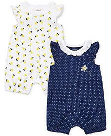 Little Me Baby Girls 2-Pk. Cotton Rompers