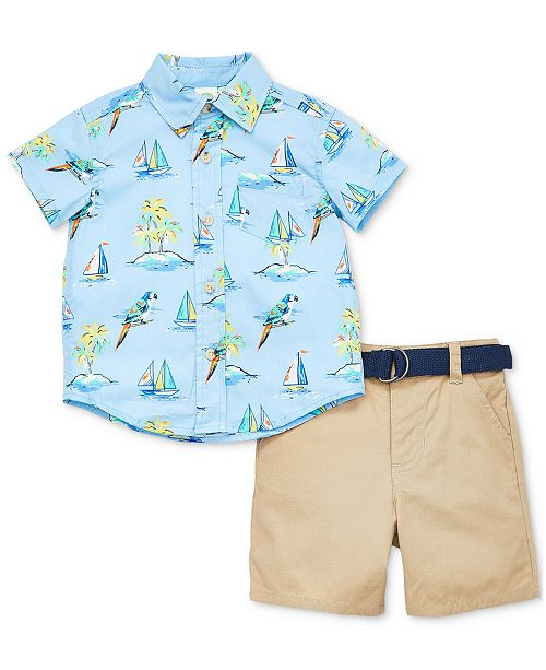 Little Me Baby Boys 2-Pc. Cotton Tropical-Print Shirt & Belted Shorts Set
