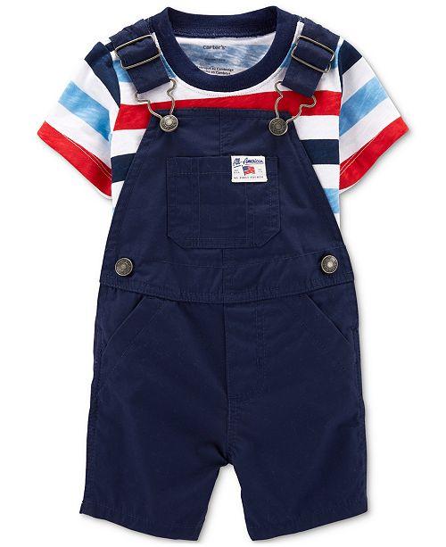 Carter's Baby Boys 2-Pc. Cotton T-Shirt & Shortall Set