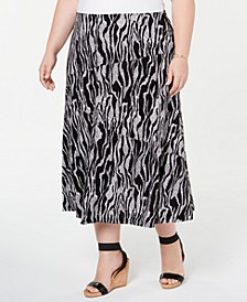 Plus Size Printed Jacquard Skirt, Created for Macy's