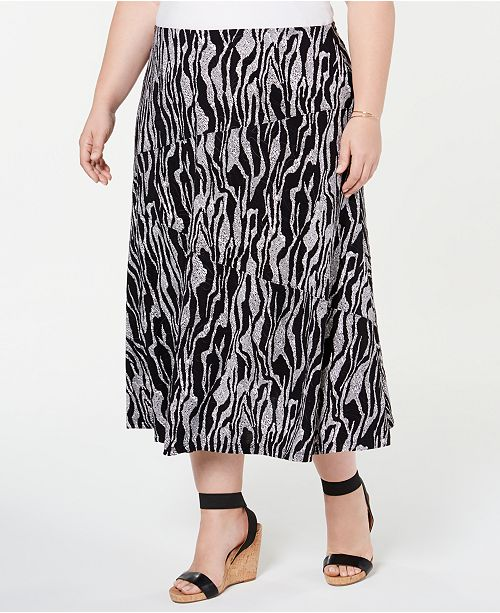 JM Collection Plus Size Printed Jacquard Skirt, Created for Macy's